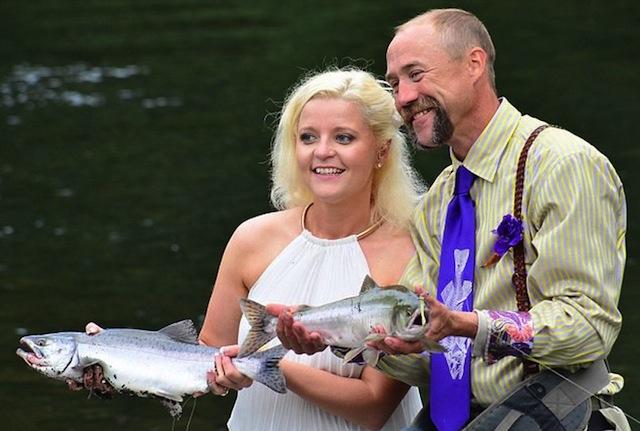 Alaska-Fly-Fishing-wedding-couple-first-catch