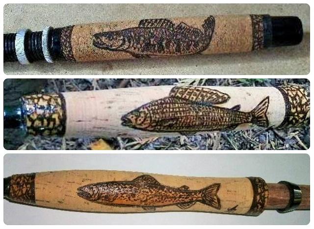 Oslikavanje plutane drške štapa pirografijom