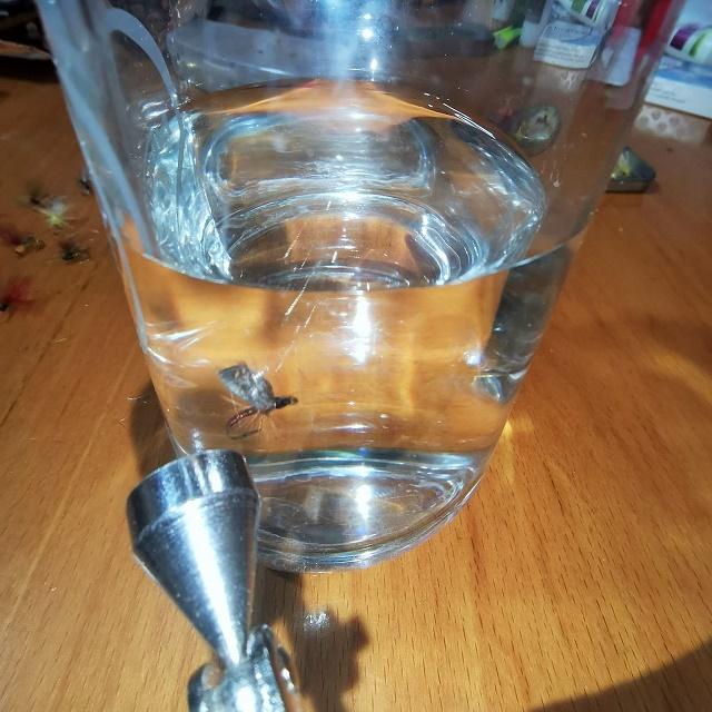 Proba plovnosti mušice u čaši
