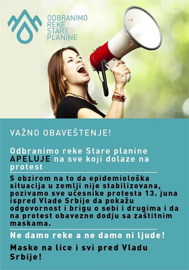 Odbranimo reke Stare planine – danas protest u Beogradu